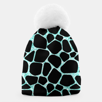 Thumbnail image of Black Stones Bright Turquoise Geometric Forms Abstrac Art Beanie, Live Heroes
