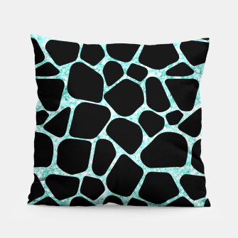 Thumbnail image of Black Stones Bright Turquoise Geometric Forms Abstrac Art Pillow, Live Heroes