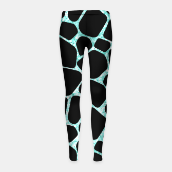 Thumbnail image of Black Stones Bright Turquoise Geometric Forms Abstrac Art Girl's leggings, Live Heroes