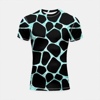 Thumbnail image of Black Stones Bright Turquoise Geometric Forms Abstrac Art Shortsleeve rashguard, Live Heroes