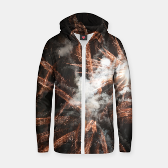 Thumbnail image of Gold fireworks abstract gold black smoke Zip up hoodie, Live Heroes