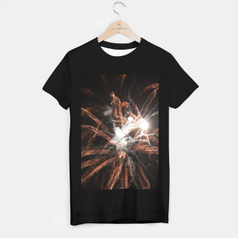 Thumbnail image of Gold fireworks abstract gold black smoke T-shirt regular, Live Heroes