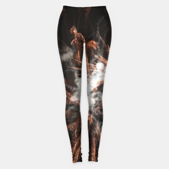 Thumbnail image of Gold fireworks abstract gold black smoke Leggings, Live Heroes