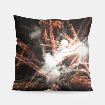 Thumbnail image of Gold fireworks abstract gold black smoke Pillow, Live Heroes