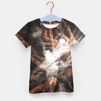 Thumbnail image of Gold fireworks abstract gold black smoke Kid's t-shirt, Live Heroes