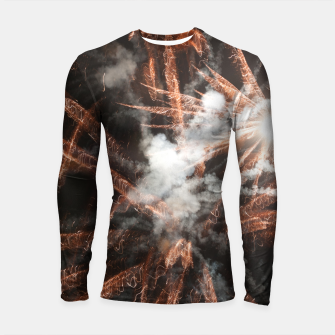 Thumbnail image of Gold fireworks abstract gold black smoke Longsleeve rashguard , Live Heroes