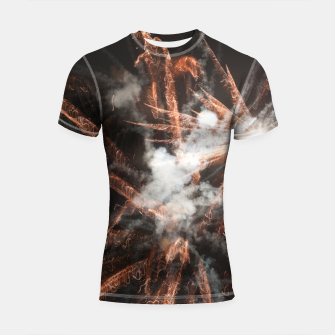 Thumbnail image of Gold fireworks abstract gold black smoke Shortsleeve rashguard, Live Heroes