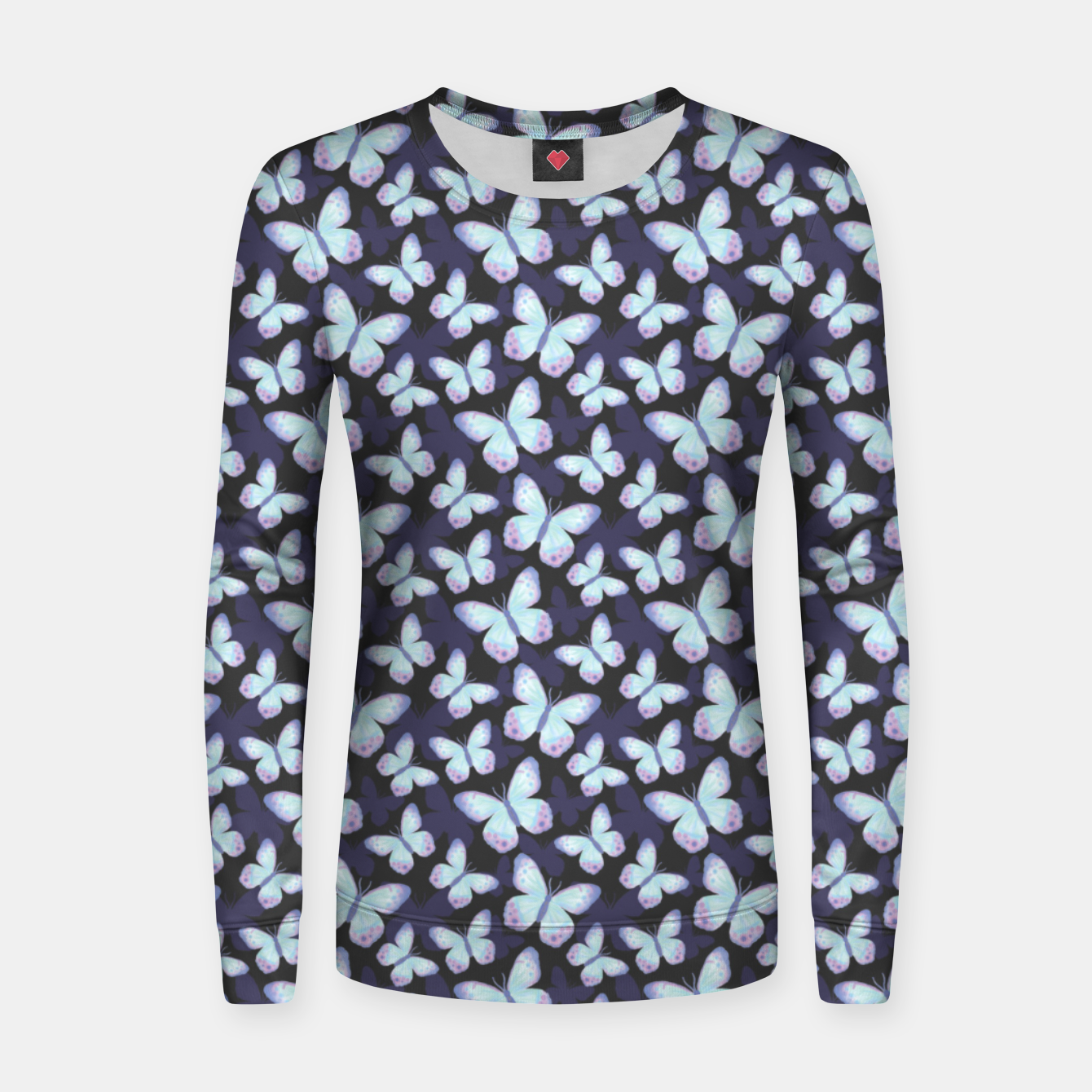 Foto Cute Hand-painted Watercolor Butterflies in Dark Night and Neon Bright Violet, Turquoise Cyan Blue and Purple Color, Butterfly Pattern Women sweater - Live Heroes