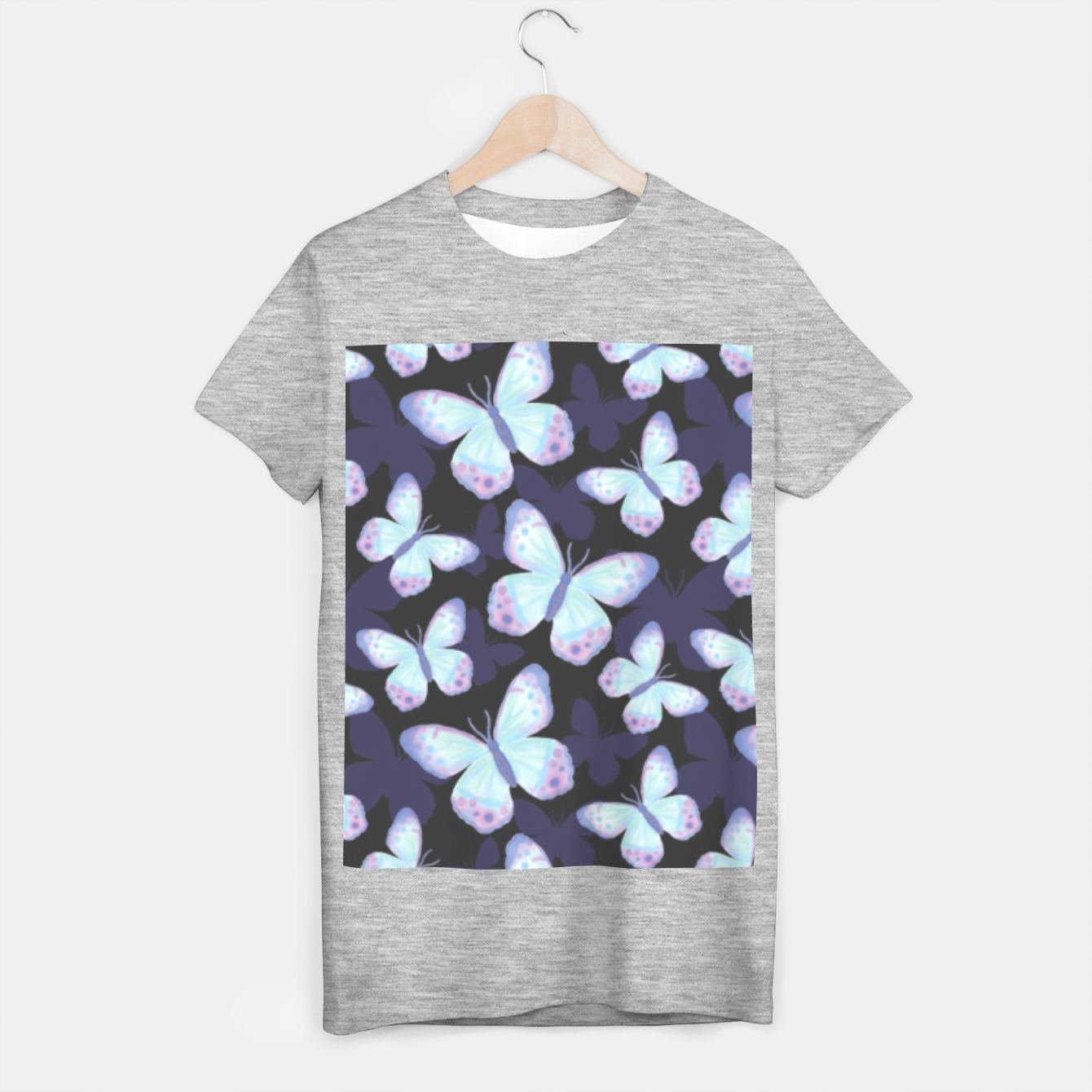 Foto Cute Hand-painted Watercolor Butterflies in Dark Night and Neon Bright Violet, Turquoise Cyan Blue and Purple Color, Butterfly Pattern T-shirt regular - Live Heroes
