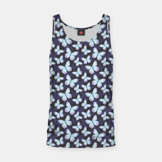 Thumbnail image of Cute Hand-painted Watercolor Butterflies in Dark Night and Neon Bright Violet, Turquoise Cyan Blue and Purple Color, Butterfly Pattern Tank Top, Live Heroes