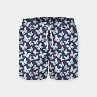 Miniature de image de Cute Hand-painted Watercolor Butterflies in Dark Night and Neon Bright Violet, Turquoise Cyan Blue and Purple Color, Butterfly Pattern Swim Shorts, Live Heroes