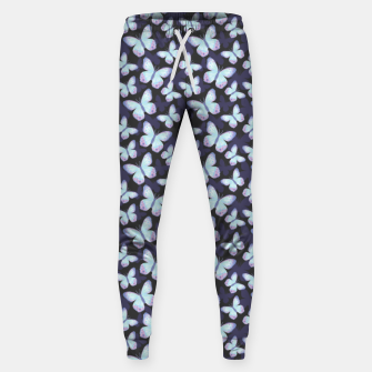 Miniature de image de Cute Hand-painted Watercolor Butterflies in Dark Night and Neon Bright Violet, Turquoise Cyan Blue and Purple Color, Butterfly Pattern Sweatpants, Live Heroes