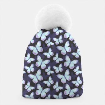 Miniaturka Cute Hand-painted Watercolor Butterflies in Dark Night and Neon Bright Violet, Turquoise Cyan Blue and Purple Color, Butterfly Pattern Beanie, Live Heroes