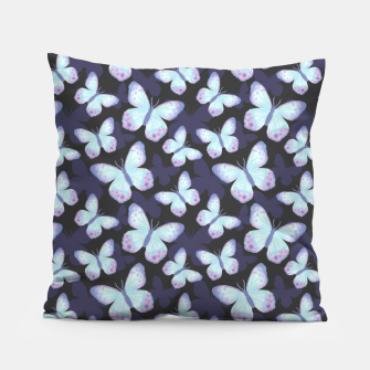 Miniaturka Cute Hand-painted Watercolor Butterflies in Dark Night and Neon Bright Violet, Turquoise Cyan Blue and Purple Color, Butterfly Pattern Pillow, Live Heroes
