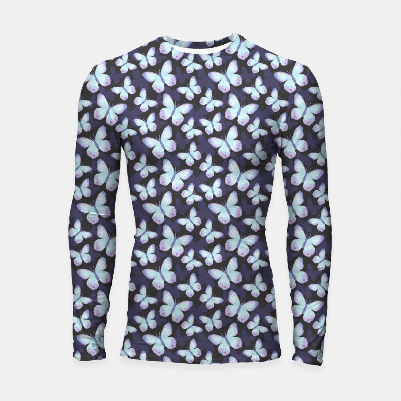 Foto Cute Hand-painted Watercolor Butterflies in Dark Night and Neon Bright Violet, Turquoise Cyan Blue and Purple Color, Butterfly Pattern Longsleeve rashguard  - Live Heroes
