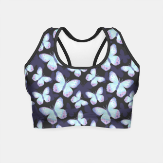 Miniaturka Cute Hand-painted Watercolor Butterflies in Dark Night and Neon Bright Violet, Turquoise Cyan Blue and Purple Color, Butterfly Pattern Crop Top, Live Heroes