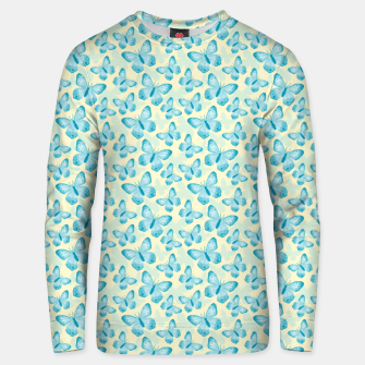 Miniaturka Cute Hand-painted Watercolor Butterflies in Bright Turquoise Blue and Light Yellow Color, Butterfly Pattern Unisex sweater, Live Heroes