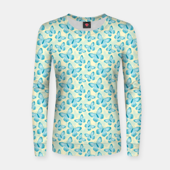 Miniature de image de Cute Hand-painted Watercolor Butterflies in Bright Turquoise Blue and Light Yellow Color, Butterfly Pattern Women sweater, Live Heroes