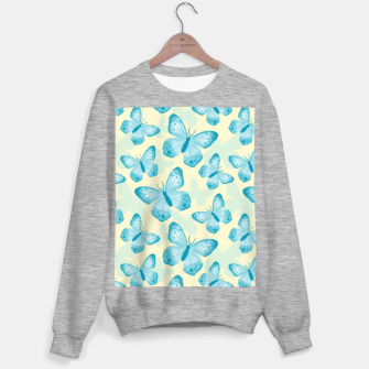 Miniaturka Cute Hand-painted Watercolor Butterflies in Bright Turquoise Blue and Light Yellow Color, Butterfly Pattern Sweater regular, Live Heroes