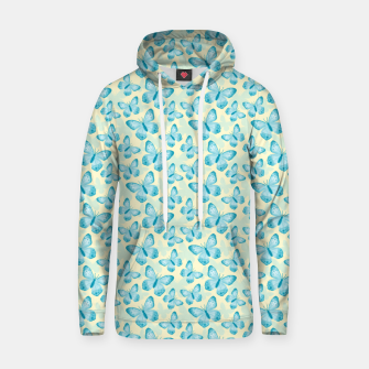 Miniature de image de Cute Hand-painted Watercolor Butterflies in Bright Turquoise Blue and Light Yellow Color, Butterfly Pattern Hoodie, Live Heroes