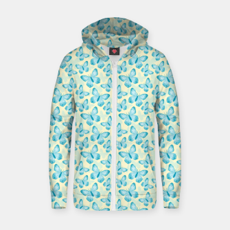 Miniature de image de Cute Hand-painted Watercolor Butterflies in Bright Turquoise Blue and Light Yellow Color, Butterfly Pattern Zip up hoodie, Live Heroes