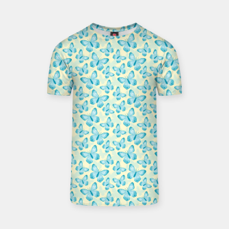 Thumbnail image of Cute Hand-painted Watercolor Butterflies in Bright Turquoise Blue and Light Yellow Color, Butterfly Pattern T-shirt, Live Heroes
