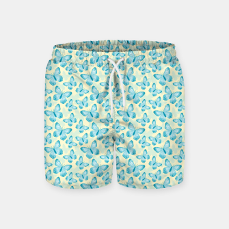 Miniaturka Cute Hand-painted Watercolor Butterflies in Bright Turquoise Blue and Light Yellow Color, Butterfly Pattern Swim Shorts, Live Heroes