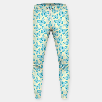 Miniaturka Cute Hand-painted Watercolor Butterflies in Bright Turquoise Blue and Light Yellow Color, Butterfly Pattern Sweatpants, Live Heroes