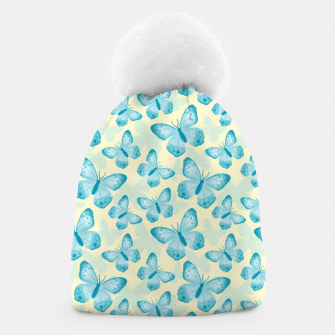 Thumbnail image of Cute Hand-painted Watercolor Butterflies in Bright Turquoise Blue and Light Yellow Color, Butterfly Pattern Beanie, Live Heroes