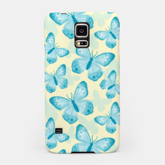 Thumbnail image of Cute Hand-painted Watercolor Butterflies in Bright Turquoise Blue and Light Yellow Color, Butterfly Pattern Samsung Case, Live Heroes
