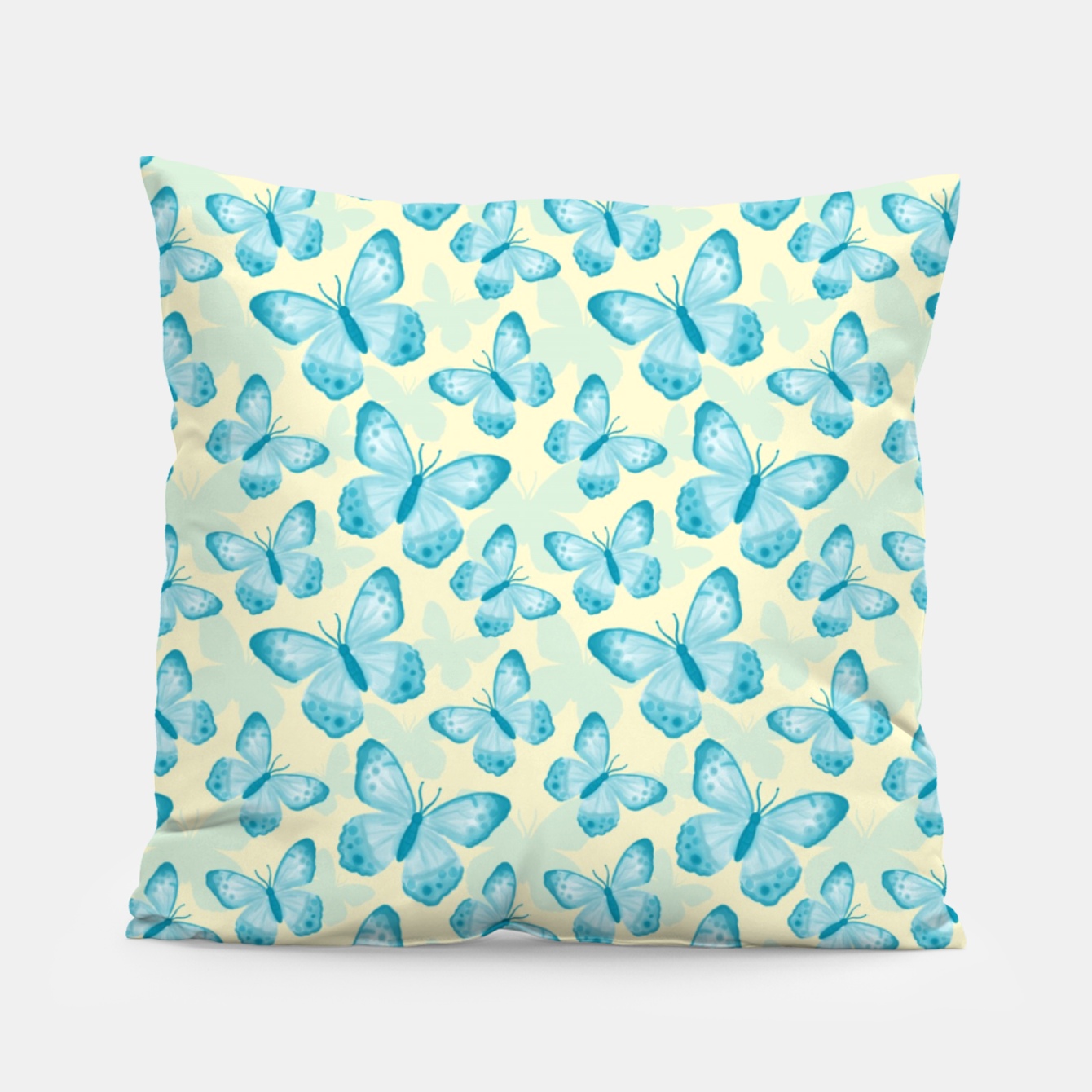 Foto Cute Hand-painted Watercolor Butterflies in Bright Turquoise Blue and Light Yellow Color, Butterfly Pattern Pillow - Live Heroes