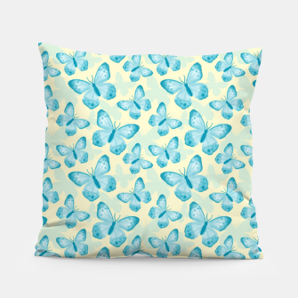 Miniaturka Cute Hand-painted Watercolor Butterflies in Bright Turquoise Blue and Light Yellow Color, Butterfly Pattern Pillow, Live Heroes