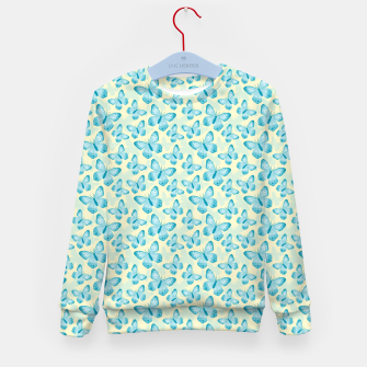Thumbnail image of Cute Hand-painted Watercolor Butterflies in Bright Turquoise Blue and Light Yellow Color, Butterfly Pattern Kid's sweater, Live Heroes