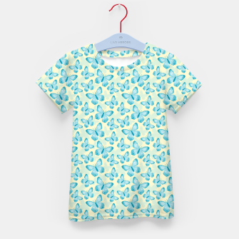 Thumbnail image of Cute Hand-painted Watercolor Butterflies in Bright Turquoise Blue and Light Yellow Color, Butterfly Pattern Kid's t-shirt, Live Heroes