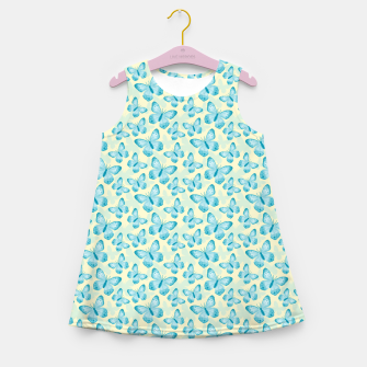 Thumbnail image of Cute Hand-painted Watercolor Butterflies in Bright Turquoise Blue and Light Yellow Color, Butterfly Pattern Girl's summer dress, Live Heroes
