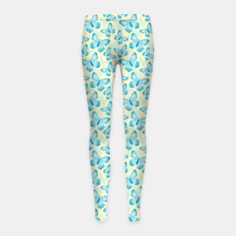 Thumbnail image of Cute Hand-painted Watercolor Butterflies in Bright Turquoise Blue and Light Yellow Color, Butterfly Pattern Girl's leggings, Live Heroes