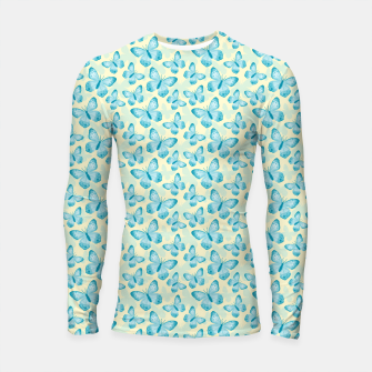 Thumbnail image of Cute Hand-painted Watercolor Butterflies in Bright Turquoise Blue and Light Yellow Color, Butterfly Pattern Longsleeve rashguard , Live Heroes