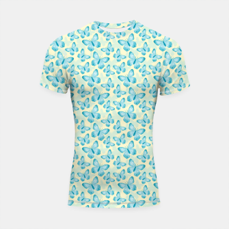 Thumbnail image of Cute Hand-painted Watercolor Butterflies in Bright Turquoise Blue and Light Yellow Color, Butterfly Pattern Shortsleeve rashguard, Live Heroes