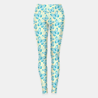 Thumbnail image of Cute Hand-painted Watercolor Butterflies in Bright Turquoise Blue and Light Yellow Color, Butterfly Pattern Leggings, Live Heroes