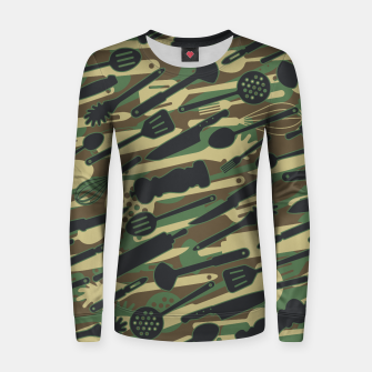 Thumbnail image of Chef Cooking Kitchen Cook Camo WOODLAND Women sweater, Live Heroes