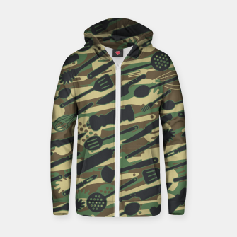 Thumbnail image of Chef Cooking Kitchen Cook Camo WOODLAND Zip up hoodie, Live Heroes