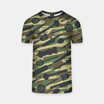 Thumbnail image of Chef Cooking Kitchen Cook Camo WOODLAND T-shirt, Live Heroes