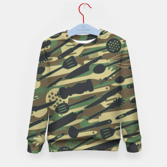 Thumbnail image of Chef Cooking Kitchen Cook Camo WOODLAND Kid's sweater, Live Heroes