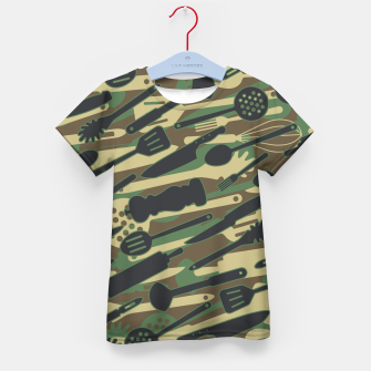 Thumbnail image of Chef Cooking Kitchen Cook Camo WOODLAND Kid's t-shirt, Live Heroes
