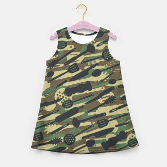 Thumbnail image of Chef Cooking Kitchen Cook Camo WOODLAND Girl's summer dress, Live Heroes