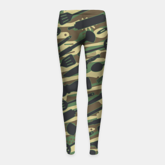 Thumbnail image of Chef Cooking Kitchen Cook Camo WOODLAND Girl's leggings, Live Heroes