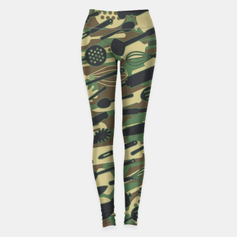 Thumbnail image of Chef Cooking Kitchen Cook Camo WOODLAND Leggings, Live Heroes