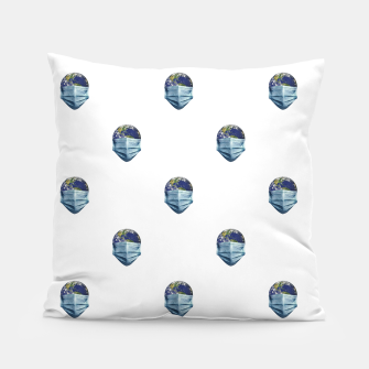 Thumbnail image of Earth With Face Mask Pandemic Concept Poster Pillow, Live Heroes