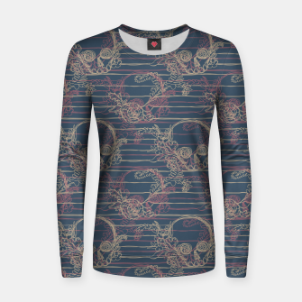 Thumbnail image of Navy Nautical Skull Women sweater, Live Heroes