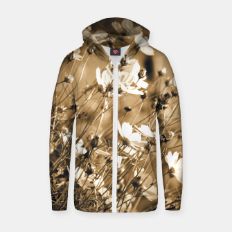Miniatur Dreamy, sepia colors wild meadow flowers photography Zip up hoodie, Live Heroes